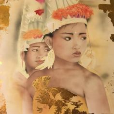 Dancers from Bali, 2011, airbrush, acrylic and golden leaf on wood, 120x80cm
