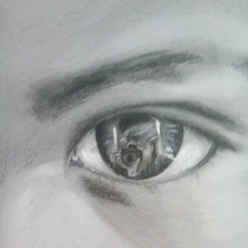 The Man with the camera, 2015, graphite and acrylic on paper, detail, private collection