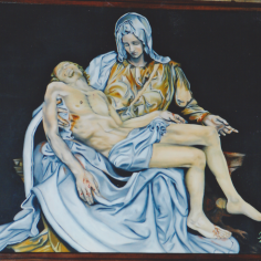 "from ""La Pietà"", 2003, oil on wood, 150x120cm, private collection"