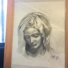Sketch from real statue_La Pietà_graphite on paper