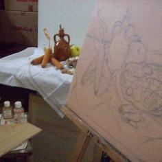 Still life, oil con canvas,2011, the making in studio