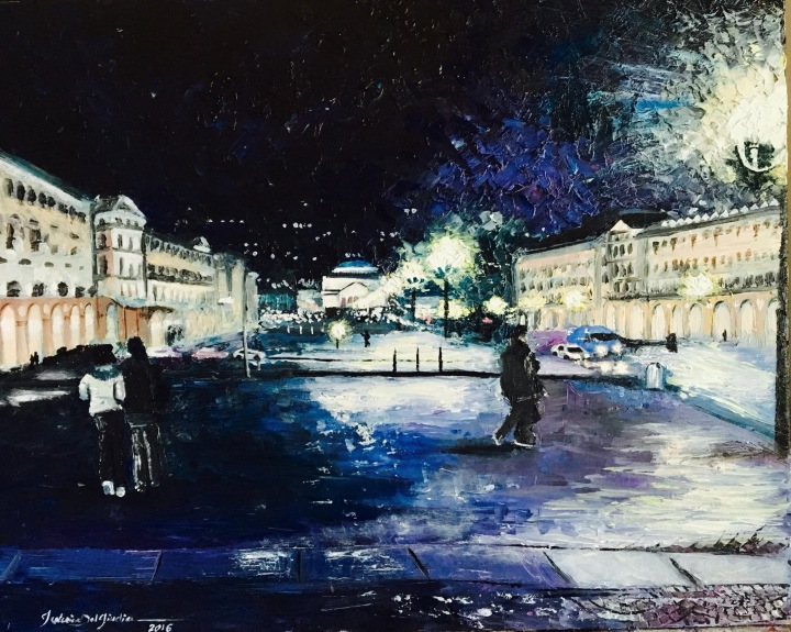 """Torino, Piazza Vittorio Veneto, one night in February"", 40x50 cm, oil on canvas"